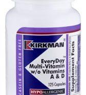 EveryDay Multi-Vitamin w/o Vitamins A & D - Hypoallergenic - 125 capsules