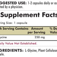 Glycine 250 mg - Hypoallergenic  - 200 capsules - INGREDIENTS