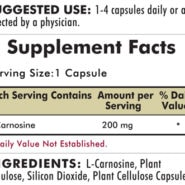 L-Carnosine 200 mg - Hypoallergenic - 90 capsules - INGREDIENTS