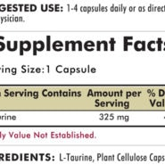 L-Taurine 325 mg - Hypoallergenic - 250 capsules - ingredients