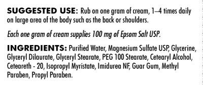 Magnesium Sulfate Cream - 4oz / 113 grams - INGREDIENTS