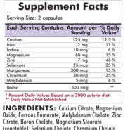 Multiple Mineral Complex Pro-Support - Hypoallergenic  - 180 capsules - INGREDIENTS