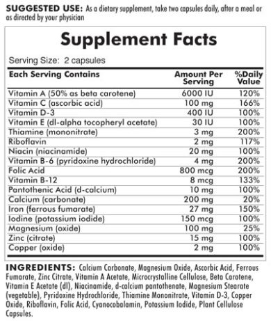 Perry™ Prenatal - Hypoallergenic - 200 capsules - INGREDIENTS