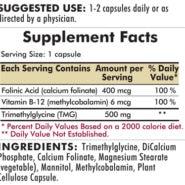 TMG 500 mg with Folinic Acid & Methyl B-12 - Hypoallergenic - 120 capsules - INGREDIENTS