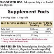 TMG (Trimethylglycine) with Folic Acid & B-12 - Hypoallergenic - 250 capsules - INGREDIENTS