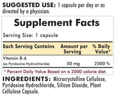 Vitamin B-6 50 mg - Hypoallergenic - 100 capsules - INGREDIENTS