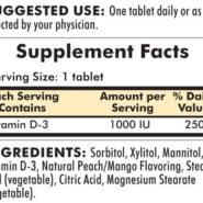 Vitamin D-3 - 1000 IU, 90 chewable tablets - INGREDIENTS
