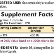 Vitamin D-3 400 IU - Hypoallergenic - 120 capsules - INGREDIENTS
