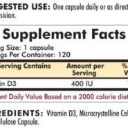 Vitamin D-3 400 IU - Hypoallergenic - 120 capsules - INGREDIENTS