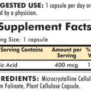 Folinic Acid 400 mcg - Hypoallergenic - 180 capsules - INGREDIENTS