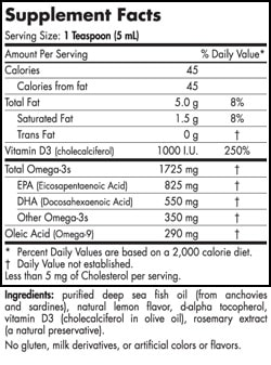 Omega-3D™ Liquid - 8 oz (Lemon) - INGREDIENTS