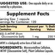 5-MTHF ([6S]-5-Methyltetrahydrofolate) 1 mg - Hypoallergenic - 120 capsules - INGREDIENTS
