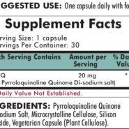 PQQ (Pyrroloquinoline Quinone) - Hypoallergenic - 30 capsules - ingredients
